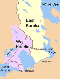 East Karelia and West Karelia with borders of 1939 and 1940/1947. They are also known as Russian Karelia and Finnish Karelia respectively.