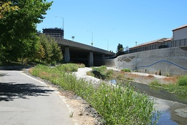 Guadalupe River Trail follows the river under Highway 87