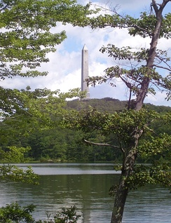 High Point Monument as seen from Lake Marcia at High Point, Sussex County, the highest elevation in New Jersey at 1,803 feet (550 m) above sea level