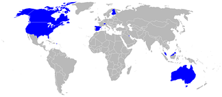 Operators of the F/A-18 are shown in blue