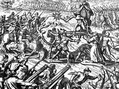 The Inca–Spanish confrontation in the Battle of Cajamarca left thousands of natives dead