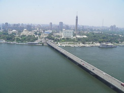 View of the Qasr El Nil Bridge in Cairo, with Gezira Island in the background