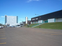 The Keystone Centre in Brandon, Manitoba with a Canad Inns hotel tower in the background