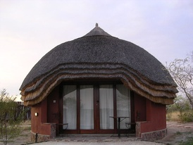 A rondavel at a lodge near the Kalahari Desert, Botswana.