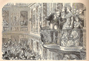 An illustration of Lafayette and the Queen on the balcony with crowds below