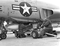 Loading an AIR-2 Genie on an F-101 at Tyndall AFB during a William Tell weapons meet