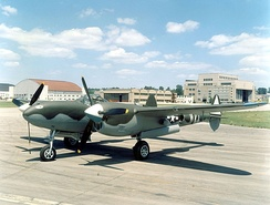 Lockheed P-38L Lightning at the National Museum of the United States Air Force, marked as a P-38J of the 55th Fighter Squadron, based in England.[144]