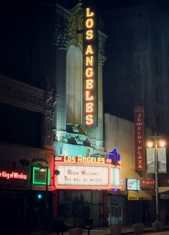 The Los Angeles Theatre honors Williams on their marquee