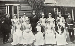 Nurses and other staff of the new hospital, 1898