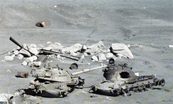 Destroyed Israeli M48 Patton tanks on the banks of the Suez Canal