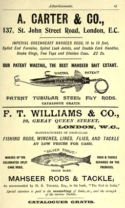 Advertisement for Mahseer fishing tackle 1897