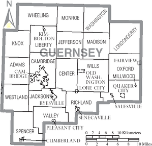 Map of Guernsey County, Ohio With Municipal and Township Labels