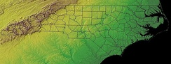 North Carolina topographic map. North Carolina's three topographic regions are evident: the Appalachian Mountains in brown, the Piedmont in yellow, and the Atlantic Coastal Plain in green.