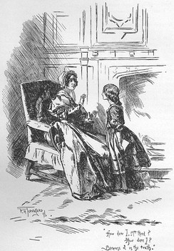 Jane Eyre, pleading her case to her aunt, Mrs Reed, before she sends her to hard service at Lowood (second edition of Jane Eyre, 1847)