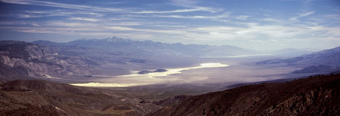 "Panamint Valley, looking south from the ""South Pass"" that connects Panamint and Saline valleys."