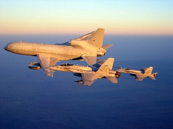 A Lockheed L-1011 TriStar K1 of the Royal Air Force refuelling two McDonnell-Douglas F/A-18C Hornets of the US Navy over Afghanistan, 2008