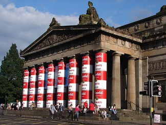 The North portico, specially decorated for an Andy Warhol exhibition on the 20th anniversary of the artist's death