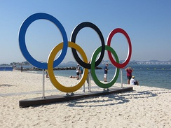 Olympic rings displayed in Rio de Janeiro.