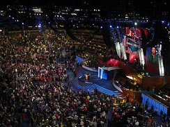 Roll call of states during the 2008 Democratic National Convention at the Pepsi Center in Denver, Colorado.