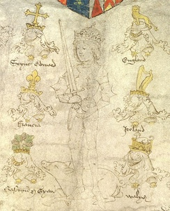 Detail from the Rous Roll (1483) showing Richard with a sword in his right hand, an orb and cross in his left, a white boar (his heraldic badge) at his feet, framed by the crests and helms of England, Ireland, Wales, Gascony-Guyenne, France and St Edward.[92]