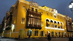 Lima City Hall building at night