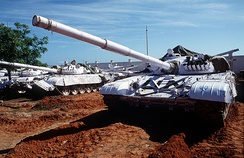 Indian Army T-72 tanks  with UN markings as part of Operation CONTINUE HOPE.
