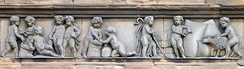 An example of Victorian putti on a building in Leith, Scotland. Here they are associated with the prosperity of the port.