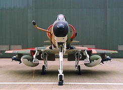Head on profile of an A-4SU Super Skyhawk, note the cranked refuelling probe, the drooped leading edge slats as well as the ram-air intake. Also, inert AIM-9 Sidewinders painted in blue are carried on the outboard pylons.