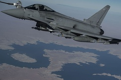 A Typhoon FGR4 is refueled over Iraq by the U.S. Air Force on 22 December 2015.