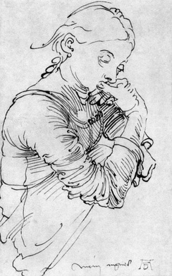Dürer's sketch of his wife Agnes Frey 1494