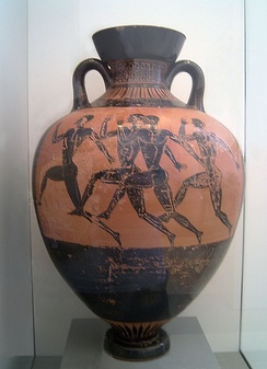 Competition painted on a Panathenaic prize amphora, attributed to the Berlin Painter, c. 480/470 BC, found in Nola, now in the Berlin Collection of Classical Antiquities, Altes Museum