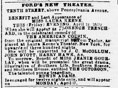 Advertisement for Our American Cousin (Washington Evening Star, April 14, 1865)
