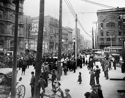 An anti-conscription rally in Montreal, 1917. French-Canadian opposition towards conscription in the latter years of World War I led to the Conscription Crisis of 1917.