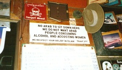 Anti-Arab sign in Pattaya Beach, Thailand