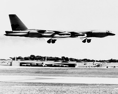 B-52G Stratofortress, modified by Kelly AFB for Arc Light bombing missions in Southeast Asia, landing at Andersen AFB during Linebacker II 1972.