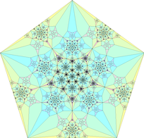 A fractal-like shape that has reflectional symmetry, rotational symmetry and self-similarity, three forms of symmetry. This shape is obtained by a finite subdivision rule.