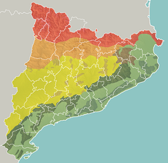 Geomorphologic map of Catalonia:   Pyrenees   Pre-Pyrenees   Catalan Central Depression  Smaller mountain ranges of the Central Depression   Catalan Transversal Range   Catalan Pre-Coastal Range   Catalan Coastal Range   Catalan Coastal Depression and other coastal and pre-coastal plains