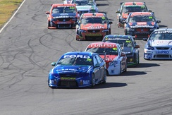 Mostert leads the Development Series field into turn 1 at Queensland Raceway