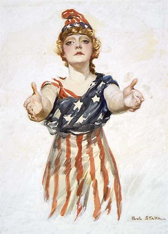 Personified Columbia in American flag gown and Phrygian cap, which signifies freedom and the pursuit of liberty, from a World War I patriotic poster