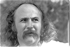 David Crosby, (of the Byrds and Crosby, Stills & Nash) is one of the singer-songwriters who crossed over into mainstream rock, seen here in 1976 backstage of the Frost Amphitheater, Stanford University.
