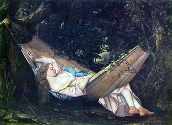 A painting of a young woman taking a siesta. (The hammock, Gustave Courbet (1844))
