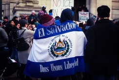El Salvador flag in A Day Without Immigrants March & Rally