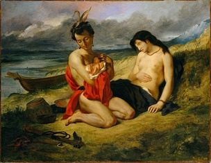 Eugène Delacroix, Les Natchez, Metropolitan Museum of Art, 1832–1835. The Natchez tribe were the fiercest opponents of the French in Louisiana.