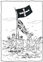 A folk cartoon inspired by the 1854 Eureka Rebellion entitled Fall back with the Eureka Jack.