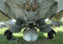 GSh-23 autocannon mounted on the underside of a Mikoyan-Gurevich MiG-23