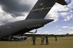 Equipment is unloaded from a C-17A Globemaster III of the 89th Airlift Squadron based at Wright-Patterson AFB.
