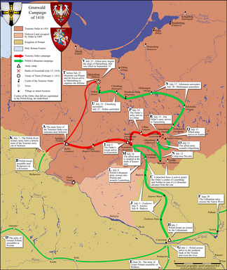 Map of army movements in the Grunwald campaign