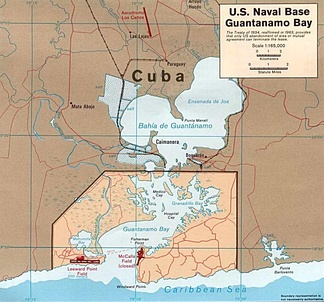 Map of Guantánamo Bay showing approximate U.S. Naval Base boundaries.