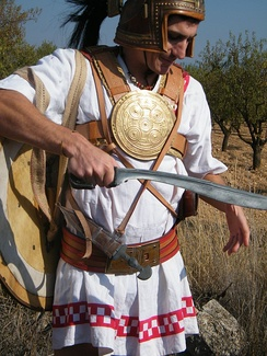 Reenactor armed as an Iberian soldier with Falcata
