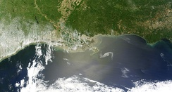 The oil slick just off the Louisiana coast on April 30, 2010. The Deepwater Horizon oil spill is now considered the biggest environmental disaster in U.S. history.